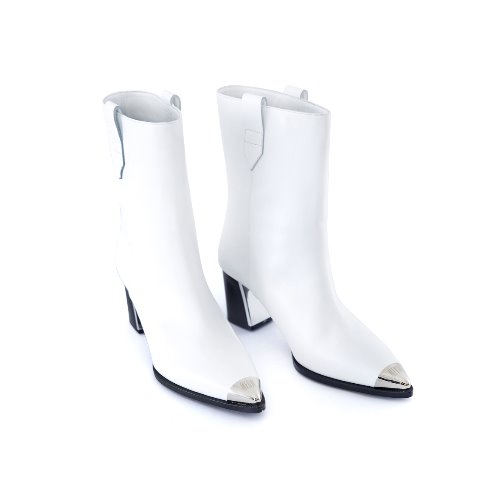 Toe Cap Middle Boots (White)